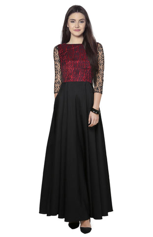 Black, Maroon Color Lace and Crepe Women's Gown - G-02_Audi_Maroon
