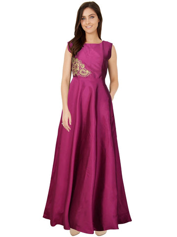 Pink Color Taffeta Women's Gown - G-05_Paris_Rani_Pink