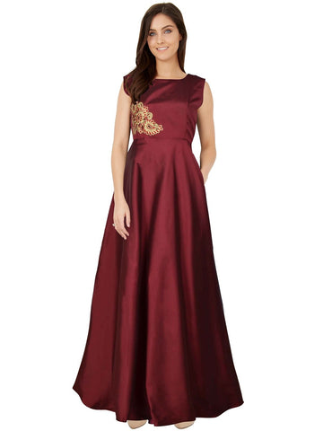 Maroon Color Taffeta Women's Gown - G-06_Paris_Maroon