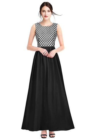 Black Color Crepe Women's Gown - G-07_Barbie_Black