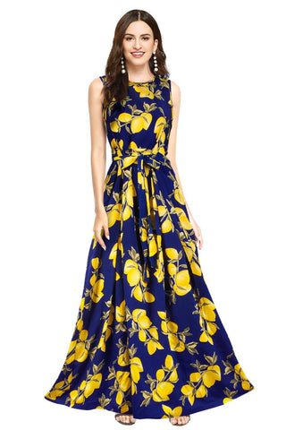 Blue Color Crepe Women's Gown - G-105_Lemon_Blue