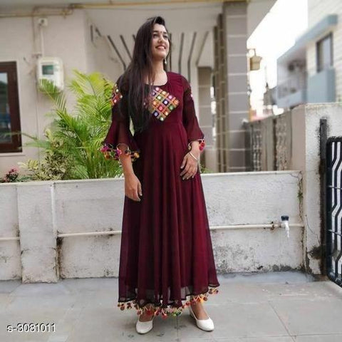 Maroon Color Georgette  Gown - G-1139