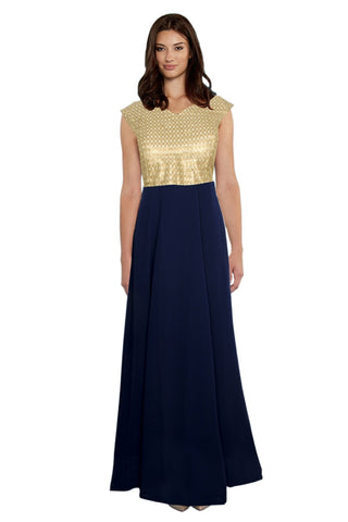 Blue Color Georgette Women's Gown - G-12_Olay_Blue
