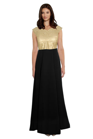 Black Color Georgette Women's Gown - G-14_Olay_Black