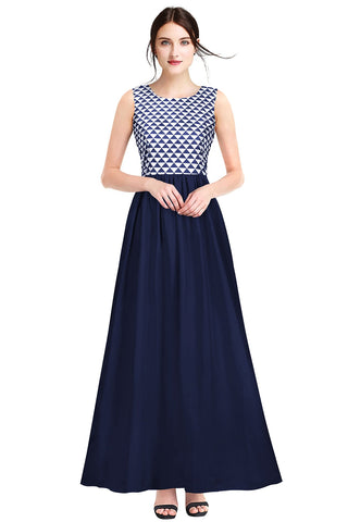 Blue Color Crepe Women's Gown - G-84_Barby_Blue