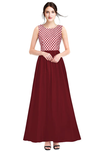 Maroon Color Crepe Women's Gown - G-85_Barby_Maroon