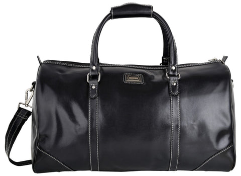 Black Color Leather Mens Duffel Bag - GB-055