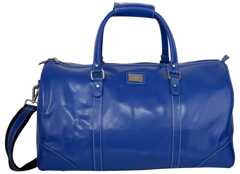 Blue Color Leather Mens Duffel Bag - GB-056