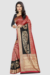 Multi Color Banarasi Silk Women's Zari Work Saree - GC053