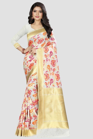 White Color Banarasi Silk Women's Zari Work Saree - GC101