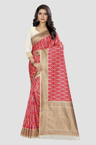 White Color Banarasi Silk Women's Zari Work Saree - GC123