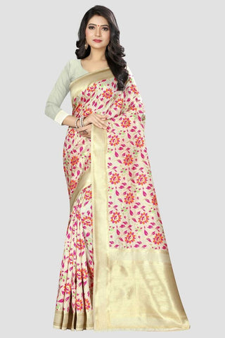 White Color Banarasi Silk Women's Zari Work Saree - GC131