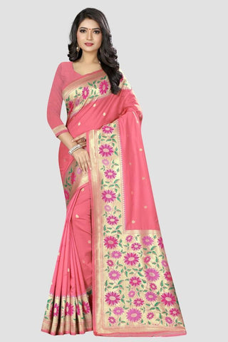 Baby Pink Color Banarasi Silk Women's Zari Work Saree - GC134