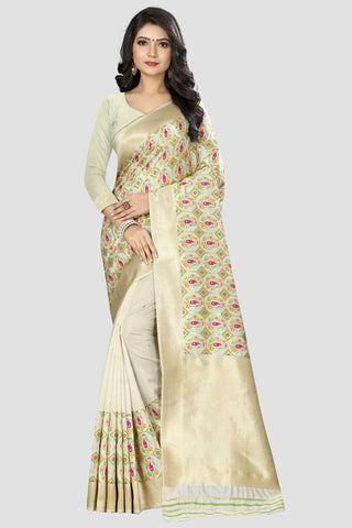 White Color Banarasi Silk Women's Zari Work Saree - GC141