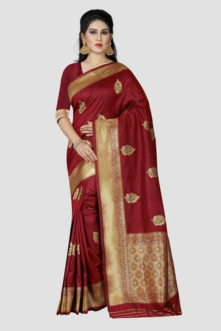 Maroon Color Banarasi Silk Women's Zari Work Saree - GC157