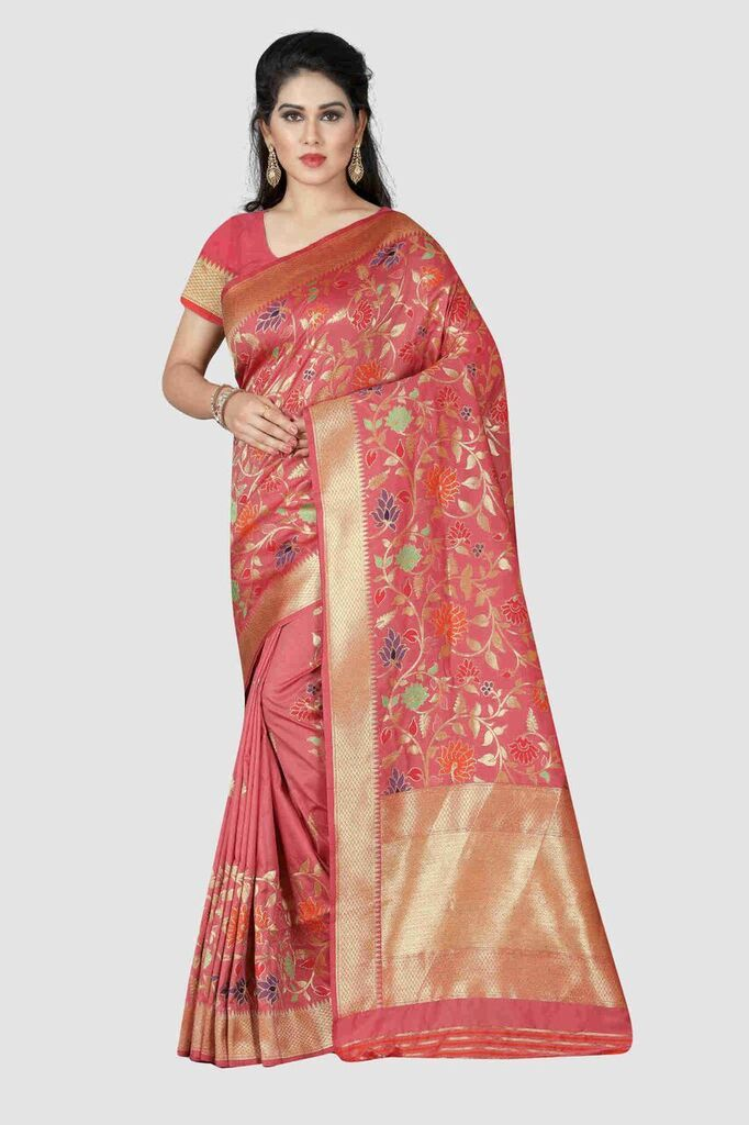 Buy Baby Pink Color Banarasi Silk Women's Zari Work Saree
