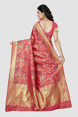 Baby Pink Color Banarasi Silk Women's Zari Work Saree - GC177P