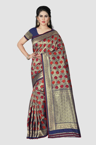 Blue Color Banarasi Silk Women's Zari Work Saree - GC261