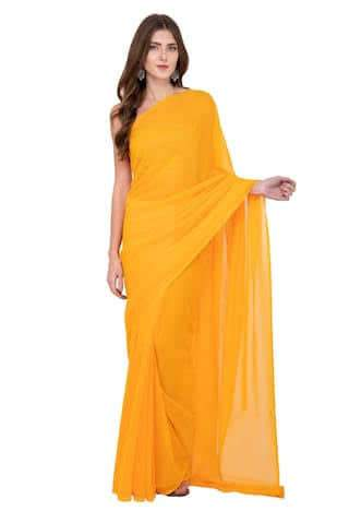 Orange Color Georgette Women's Plain Saree - GCF-16