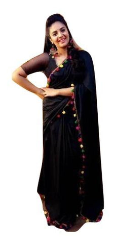 Black Color Georgette Saree - GCF7