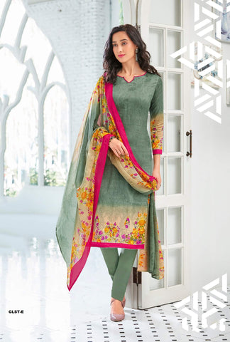 Olive Green Color Glace Cotton Satin UnStitched Salwar  - GLST-E