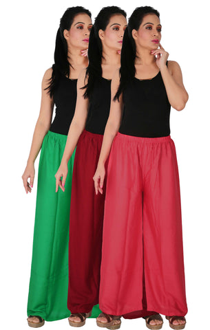 Pack Of 3 Rayon Palazzos - GMP