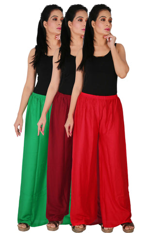 Pack Of 3 Rayon Palazzos - GMR