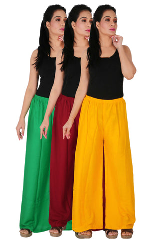 Pack Of 3 Rayon Palazzos - GMY