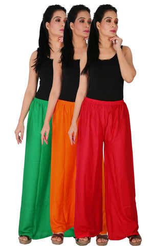Pack Of 3 Rayon Palazzos - GOR