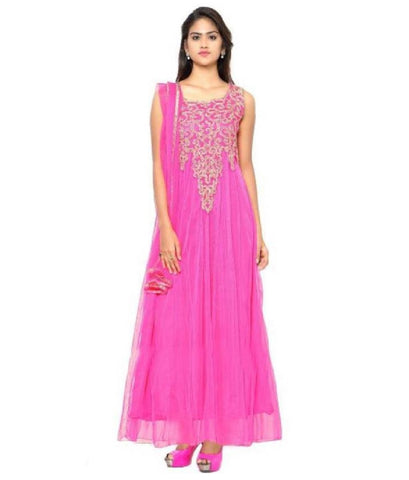 Pink Color Net Semi Stithed Gown - GOWN00001