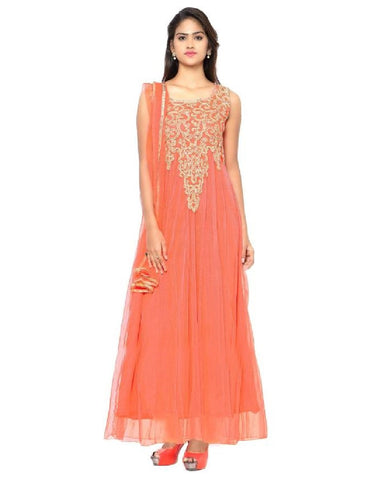 Orange Color Net Semi Stithed Gown - GOWN00002