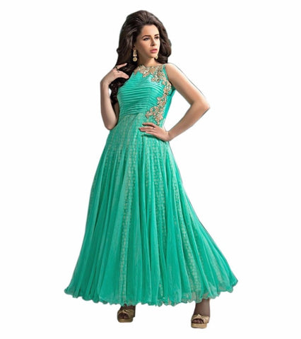 Sea Green Color Net Semi Stithed Gown - GOWN00019