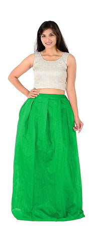 Green Color Banglory Silk Semi Stitched Gown  - GOWN00034