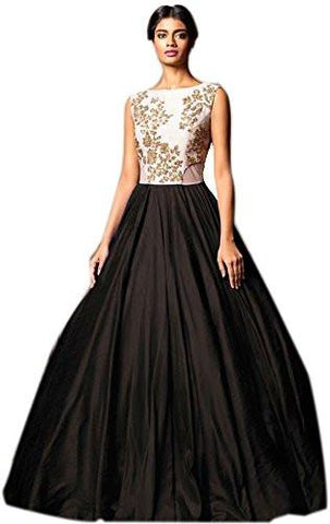 Black Color Banglori Silk Semi Stithed Gown - GOWN00042