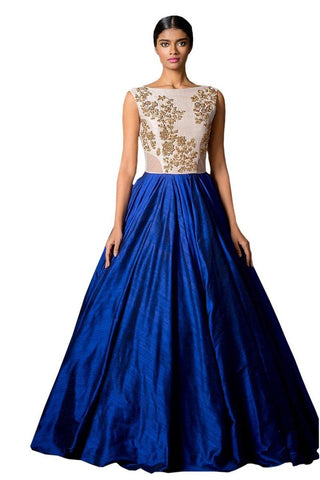 Blue Color Banglori Silk Semi Stithed Gown - GOWN00043