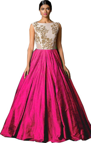 Pink Color Banglory Silk Semi Stitched Gown  - GOWN00045