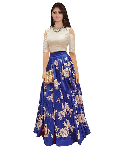 Blue Color Banglori Silk Semi Stithed Gown - GOWN00051