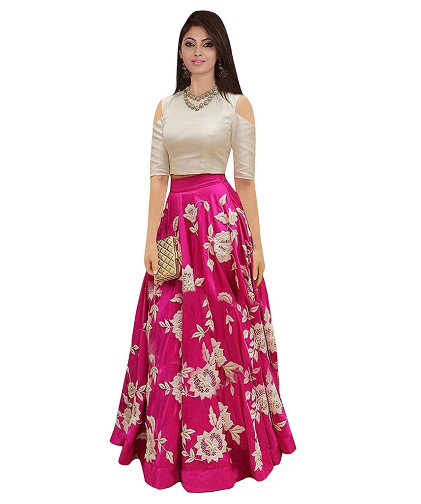 Pink Color Banglori Silk Unstitched Gown