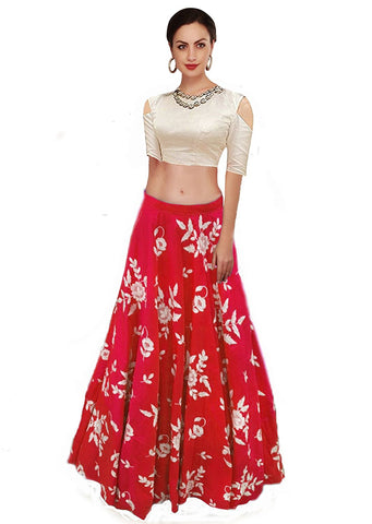 Red Color Banglori Silk Semi Stitched Gown  - GOWN00053a