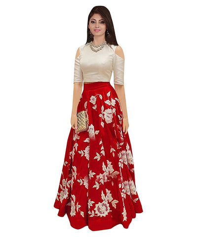 MUTA FASHION-Red Color Banglori Silk Unstitched Gown - GOWN00053