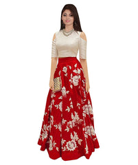 Red Color Banglori Silk Unstitched Gown