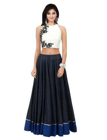 White and Blue  Color Banglori Silk Semi Stithed Gown - GOWN00054