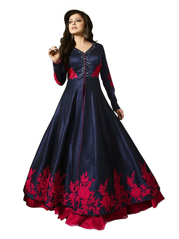 MUTA FASHION-Navy Blue Color Banglori Silk Semi Stitched Gown - GOWN00061