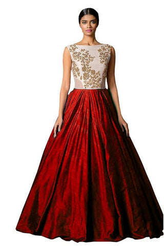 MUTA FASHION-Red Color Banglori Silk Semi Stitched Gown - GOWN00065