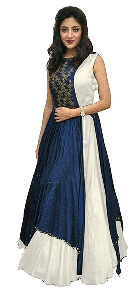 White Color Taffeta Silk Unstitched Gown