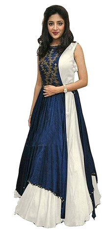 MUTA FASHION-White Color Taffeta Silk Semi stitched Gown - GOWN00072