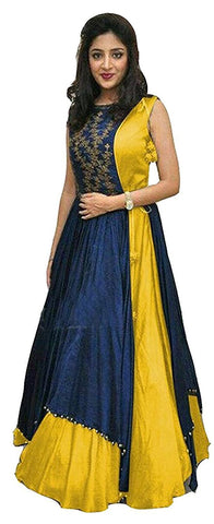 MUTA FASHION-Yellow Color Taffeta Silk Semi Stitched Gown - GOWN00073