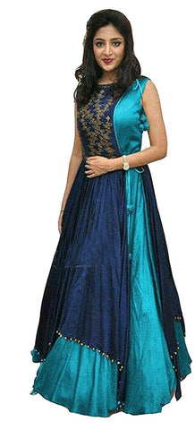 MUTA FASHION-Blue Color Taffeta Silk Semi Stitched Gown - GOWN00074