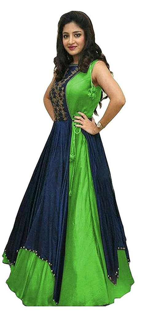 Green Color Taffeta Silk Unstitched Gown