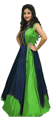 MUTA FASHION-Green Color Taffeta Silk Unstitched Gown - GOWN00077
